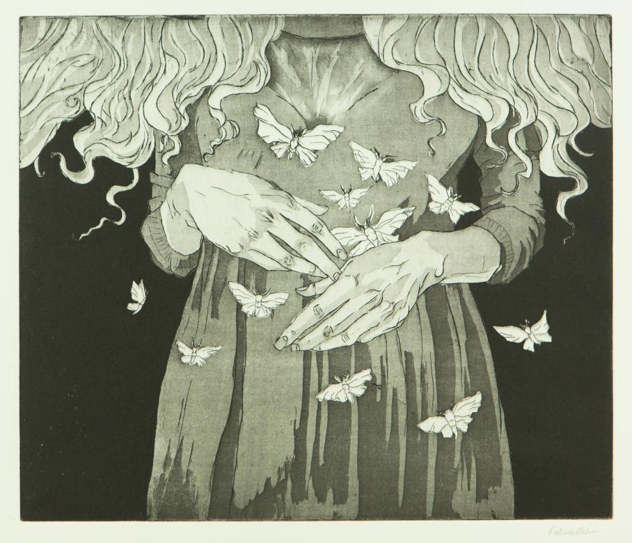 intaglio print of woman's hands with butterflies
