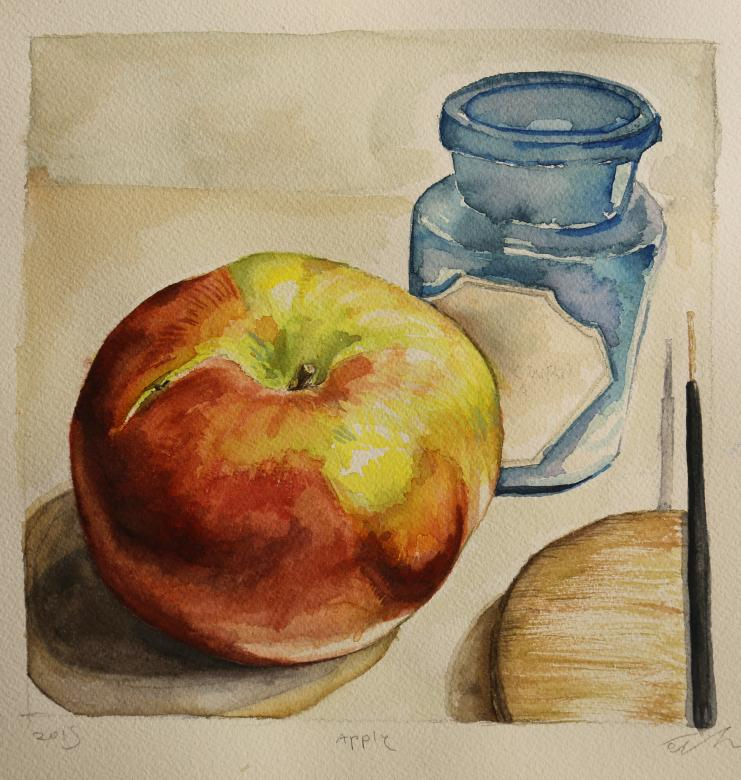 water color painting of apple and jar