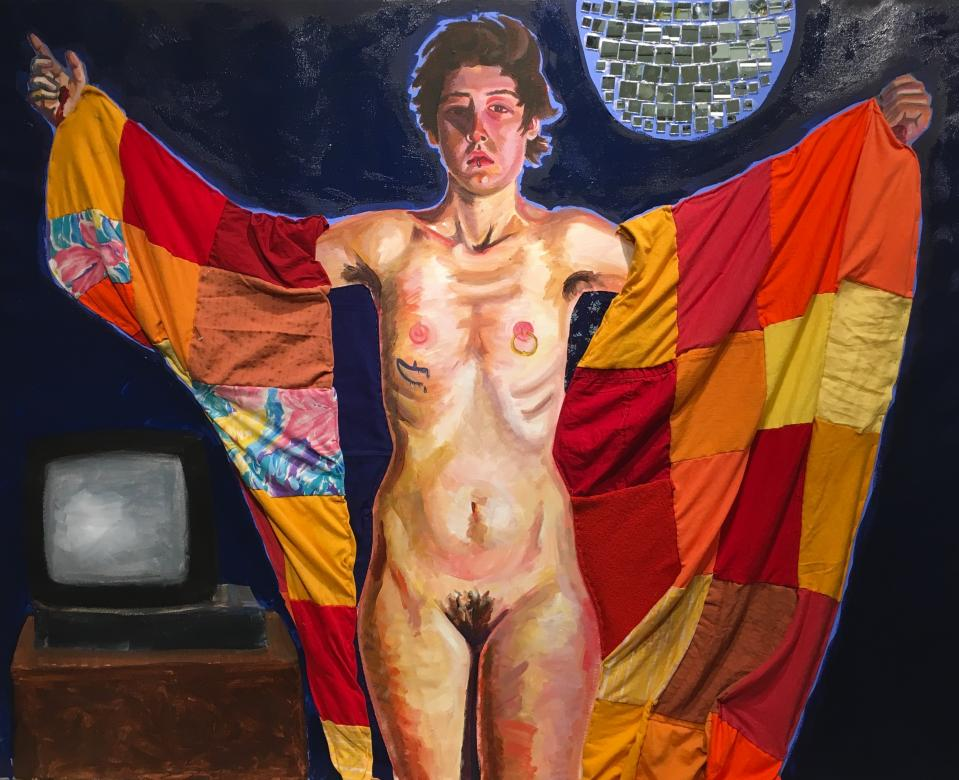 mixed media painting of nude female with red quilt and disco ball
