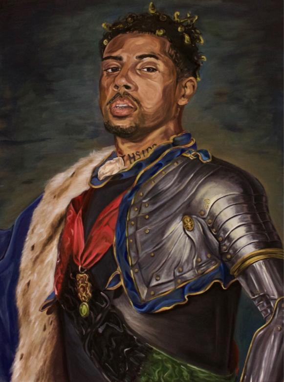 painting of male portrait in armor and fur