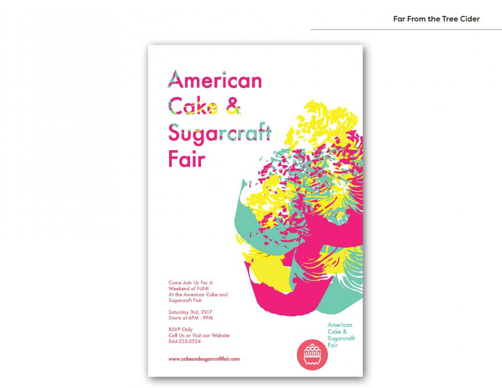 poster design with pink, yellow, and green illustration