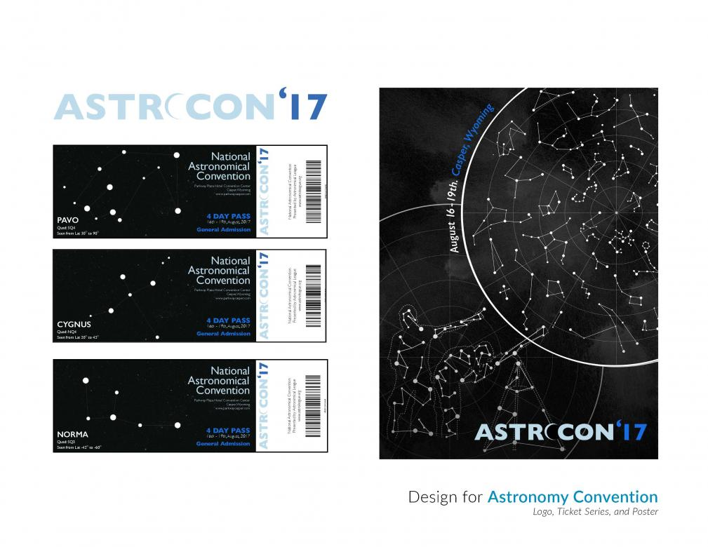 poster and ticket design layout of star map