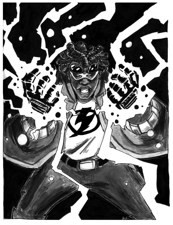 black and white illustration of man with lightening coming out of hands