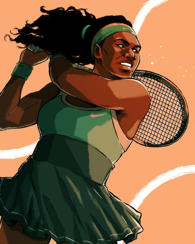 digital illustration of serena williams