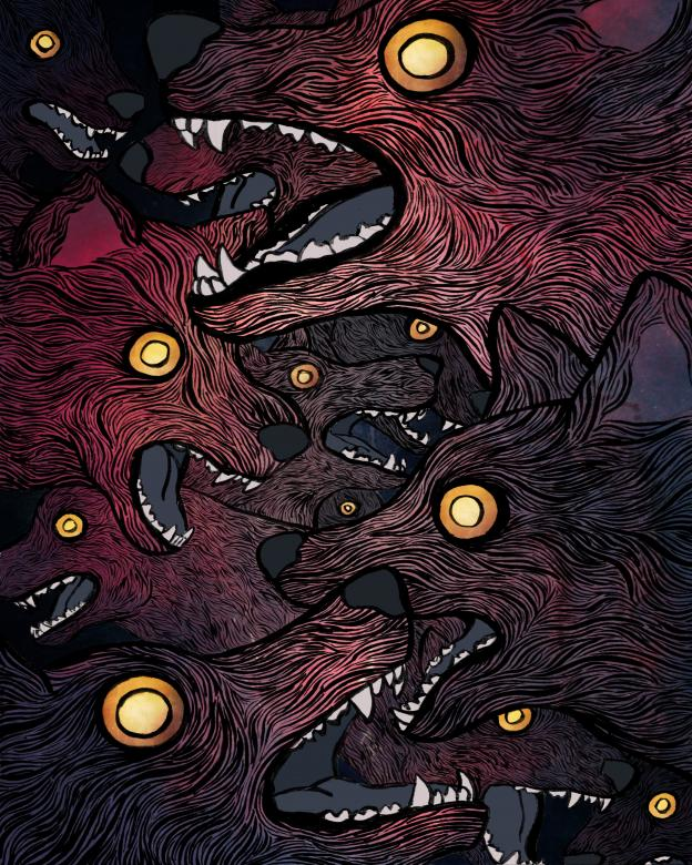 digital illustration of wolves