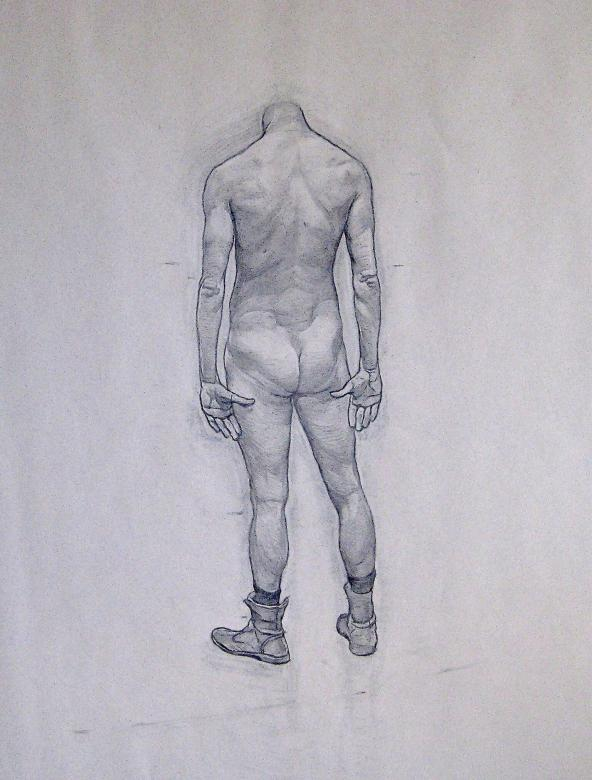 drawing of headless nude person standing in boots facing away