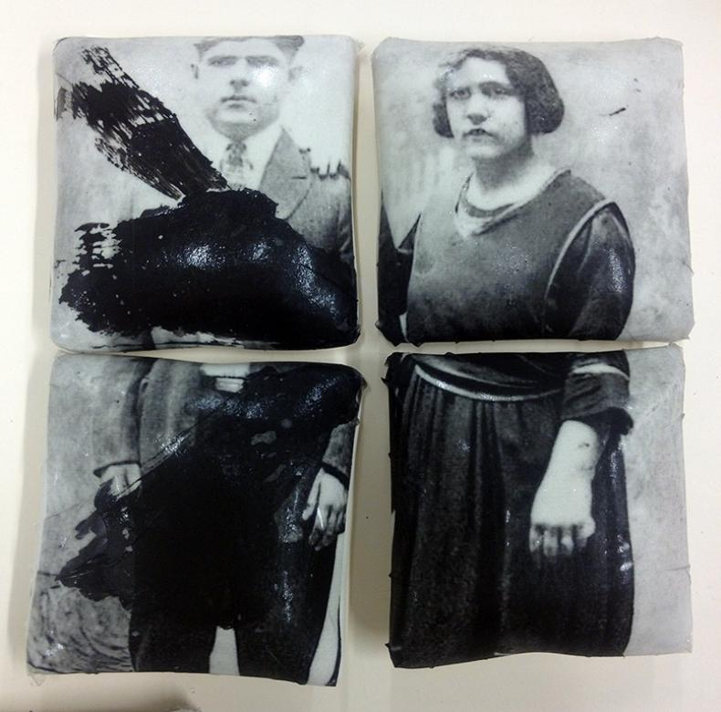 four ceramic pillows with images of old photographs of man and woman printed on them