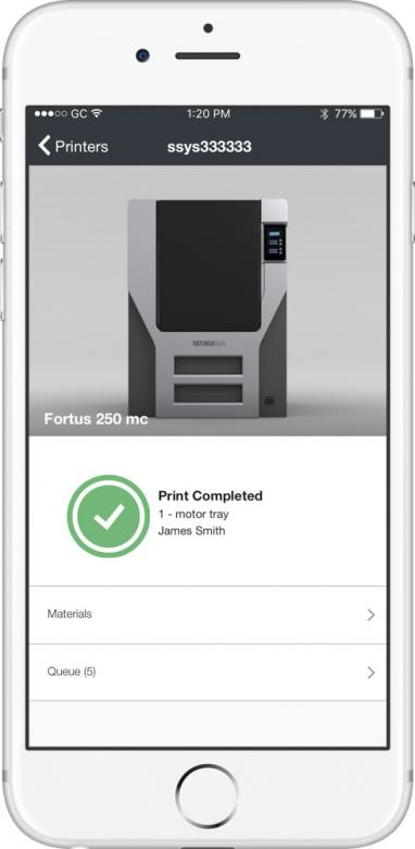 screenshot of mobile app which allows users to access printers