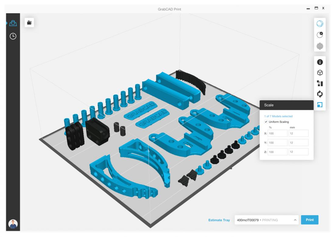 screenshot of software that helps users organize items for 3d printing.
