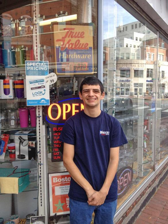 Threshold Student Jesse Daffner at internship site at Dickson Brothers True Value Hardware Store