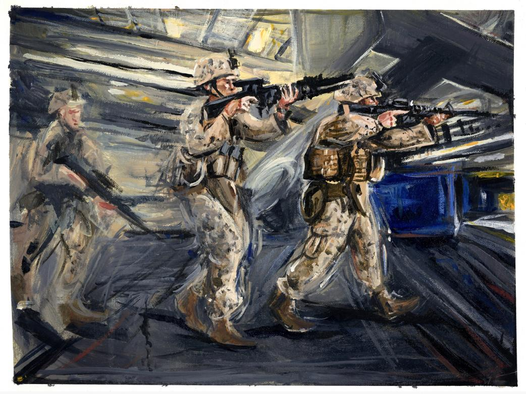 Acrylic painting of men holding guns on the USS Essex.