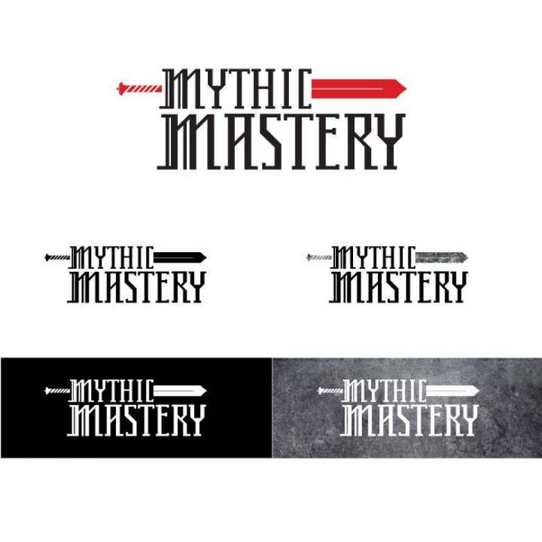 "Five different logo options with black text reading ""Mythic Mastery"""
