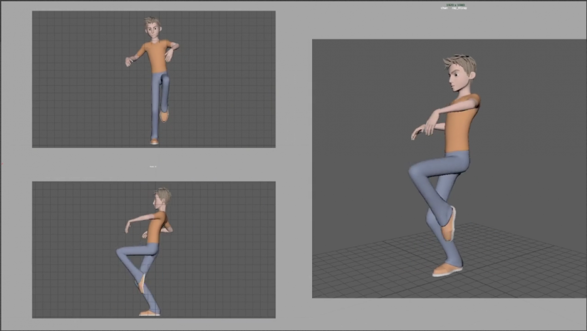 3d character animation work-in-progess
