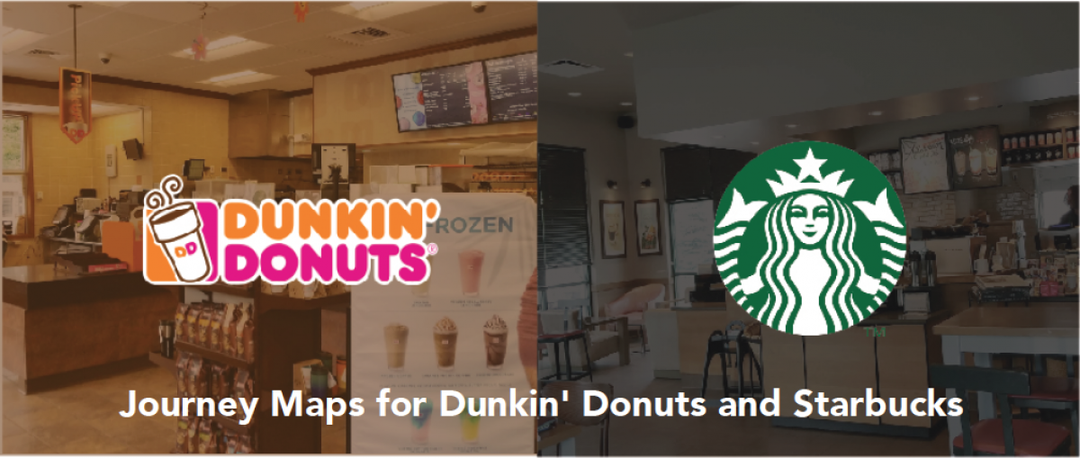 Dunkin Donuts and Starbucks logos on screen