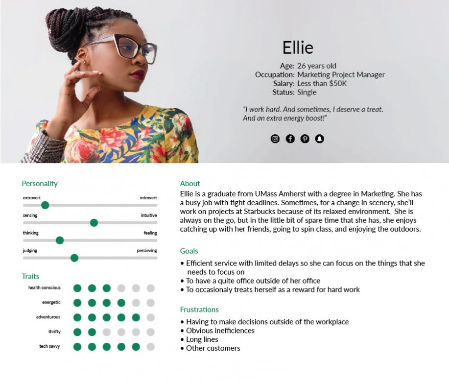 User profile with headshot of woman and text laidout describing who she is.