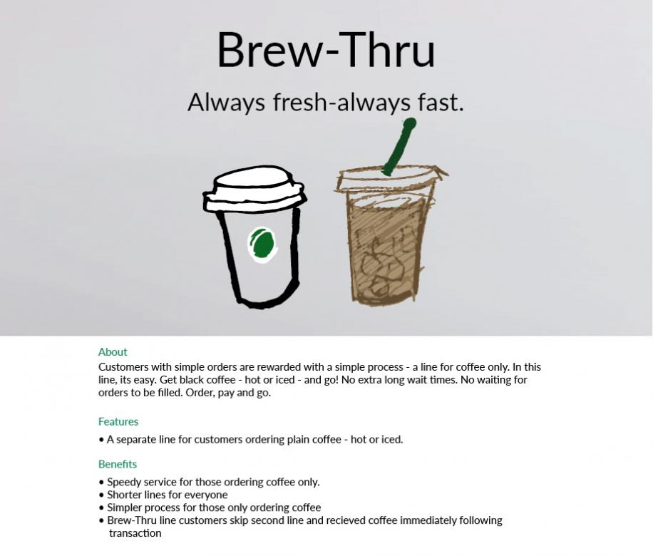 digital sketch of starbucks hot and cold brew coffee with text on a gray background