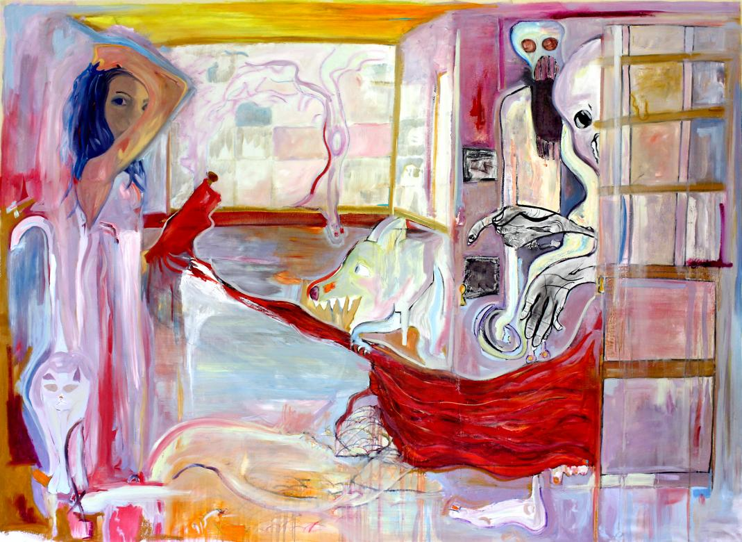 abstract painting of person in empty room a cat, dog, and two monsters