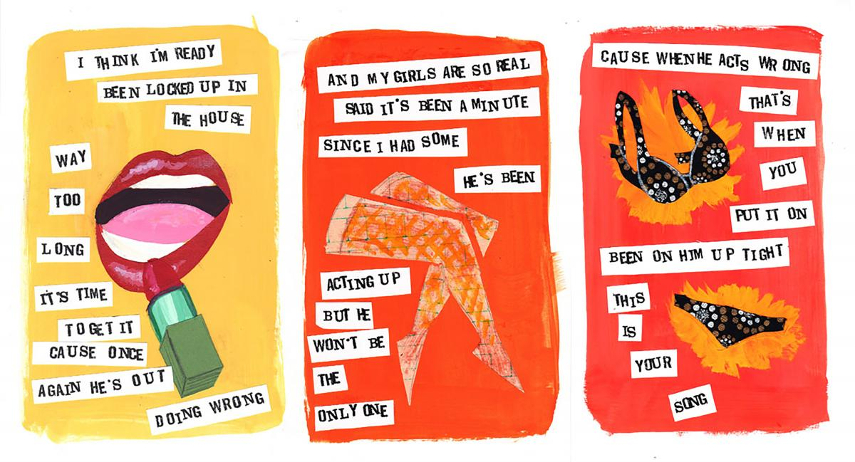 three illustrated panels with collaged text and graphics of mouth, legs and underwear.