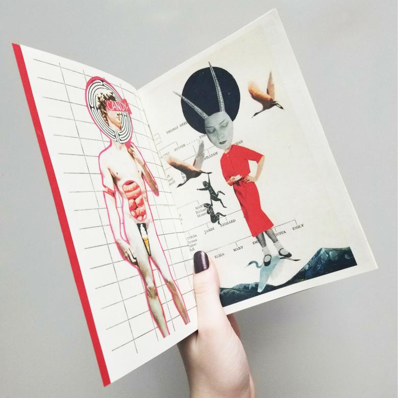 hand holding up a book with collaged graphics on page spread