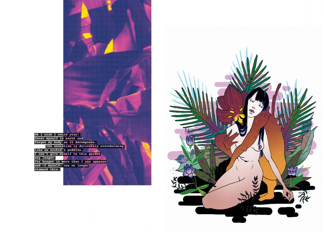 collaged graphic with female figure sitting in jungle next to purple pannel with text typed over it