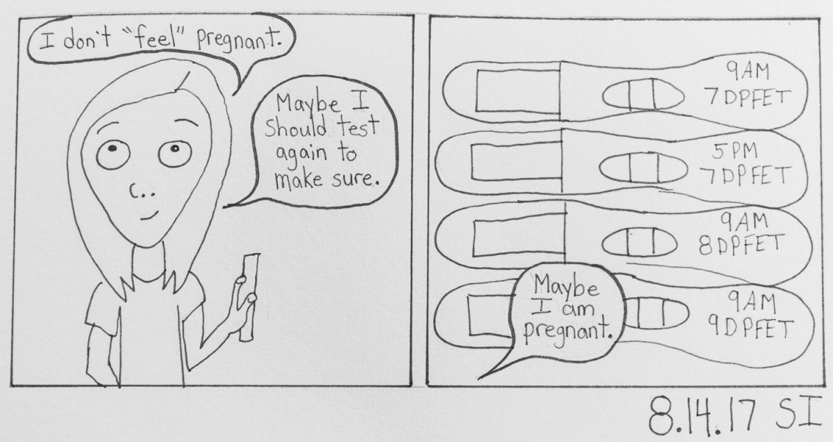 Sketch where Sheila questions if she is really pregnant and images of pregnancy tests taken every few hours.