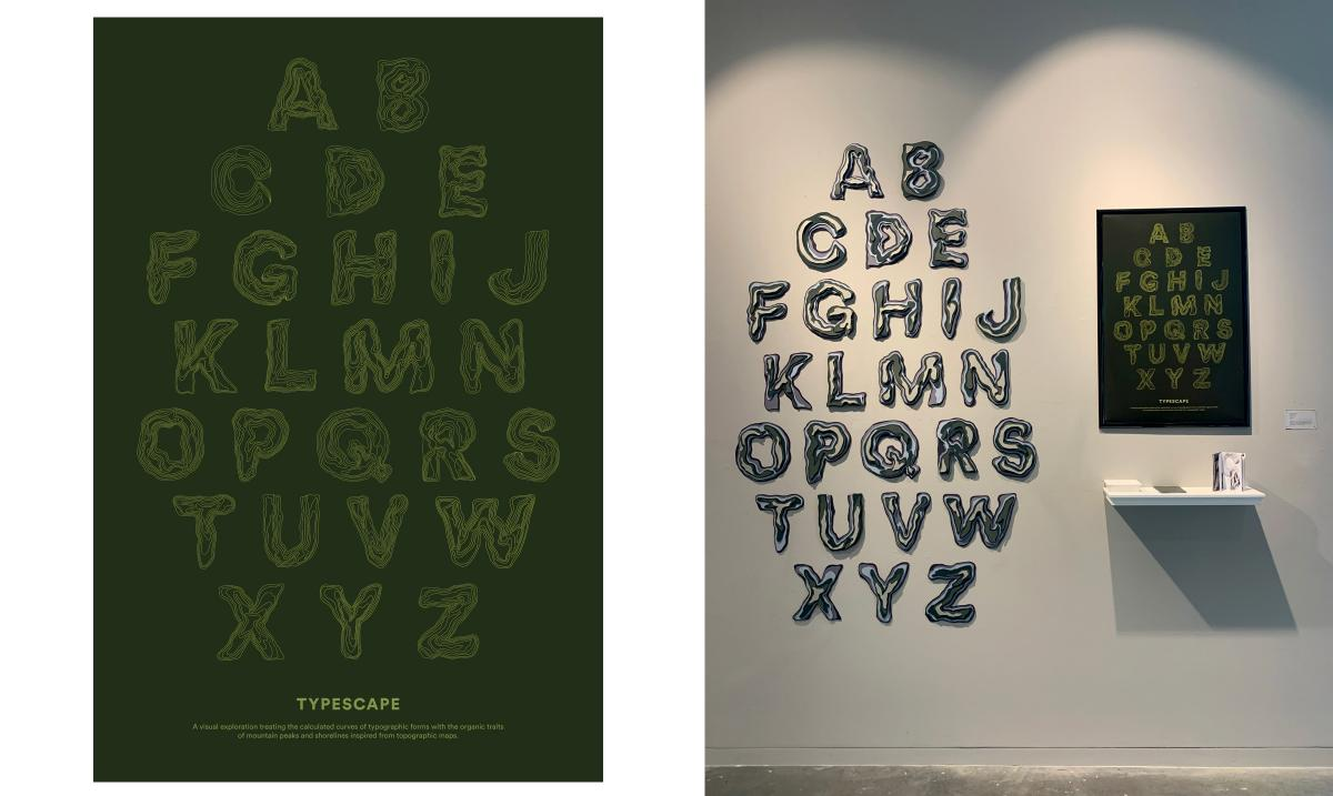 uppercase letters on the wall next to a green poster and small white shelf
