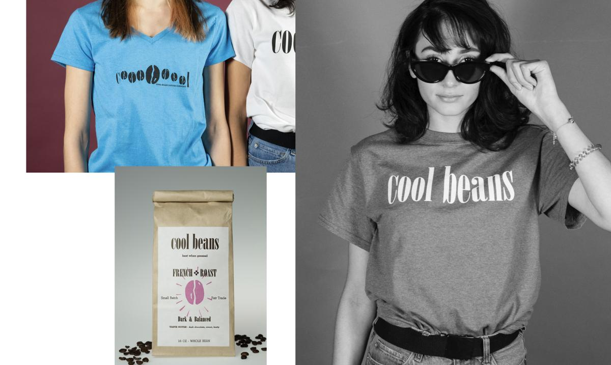 collage of pictures with bag of coffee beans and people wearing blue cool beans shirts