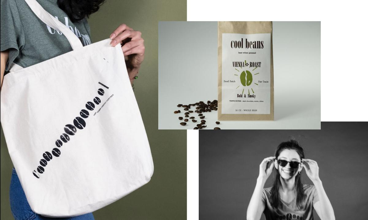 collage of pictures with bag of coffee beans, woman wearing sunglasses and gray cool beans shirt, and white tote bag with cool beans printed on it.