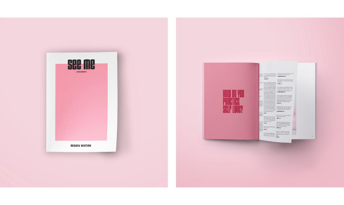 images of book spread on pink background