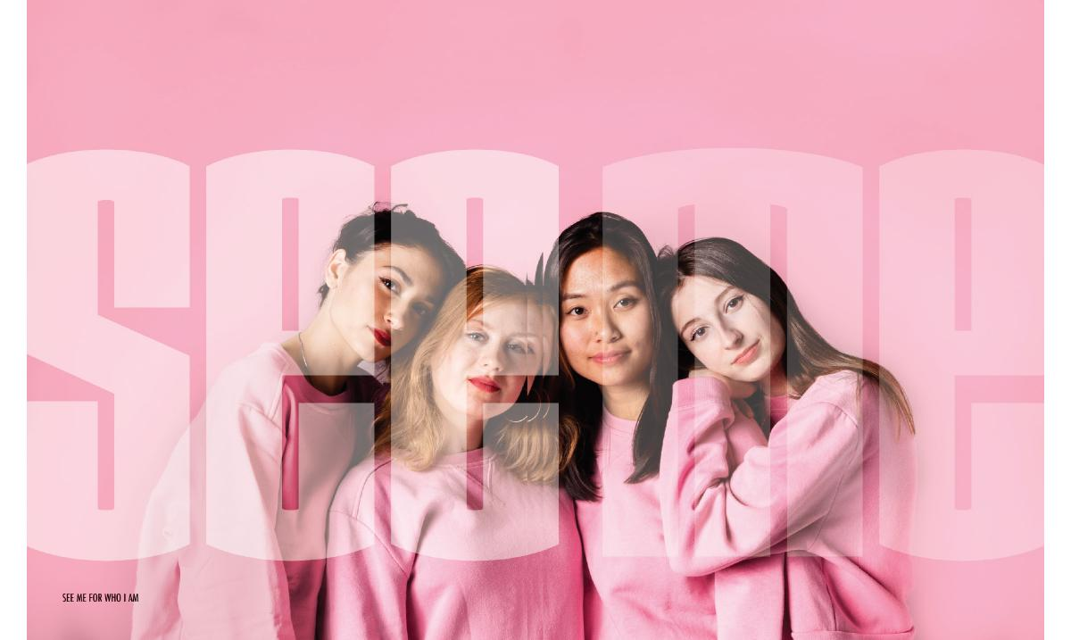 image with four female presenting people in front of pink background and transparent text overlaid on them