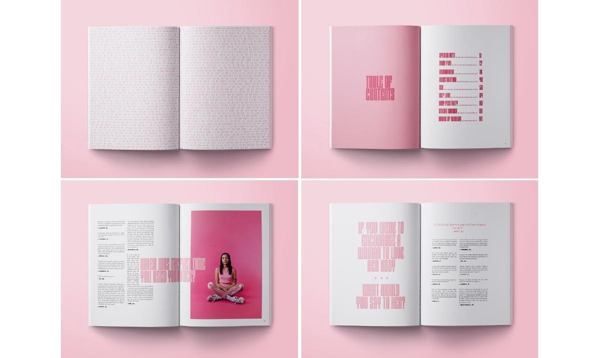 image of four magazine spreads on top of pink background