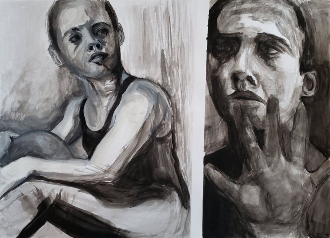 side-by-side gray portrait drawings of two people looking toward each other