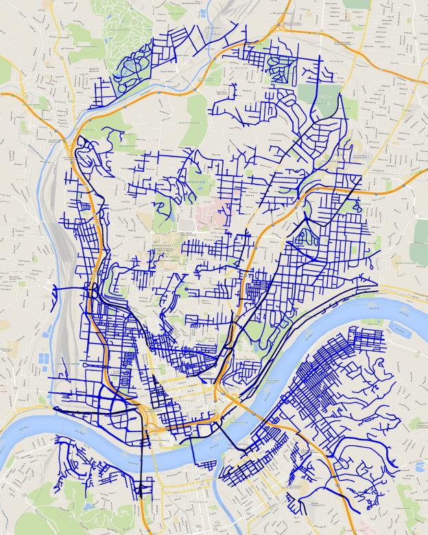 Street map with areas visited that create a silhouette of a face