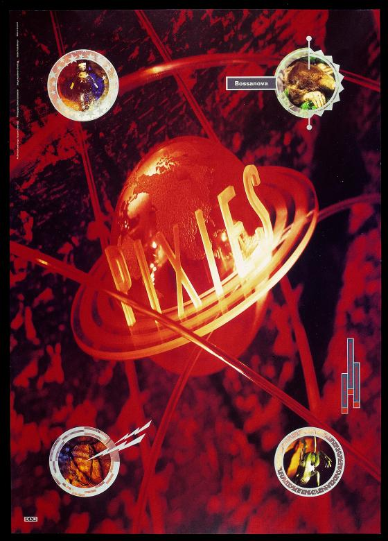 black poster with an orange planet earth in the center. PIXIES is written in yellow glowing letters surrounded by yellow and red flames throughout image.