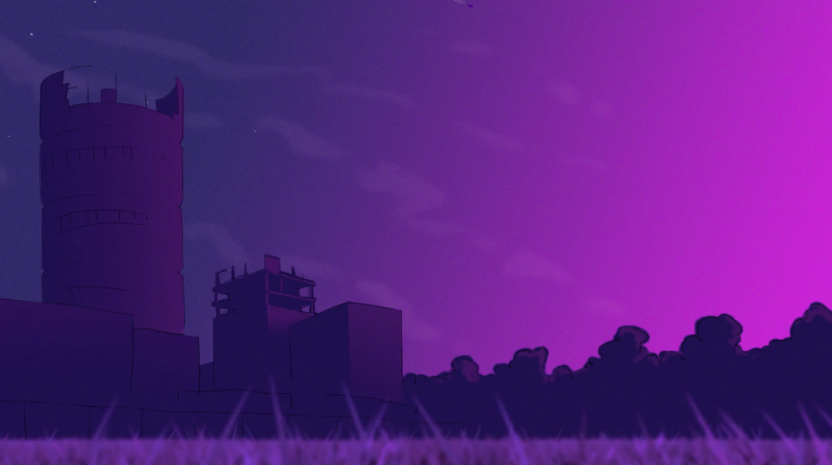 cartoon purple sunset with castle tower and forest in foreground