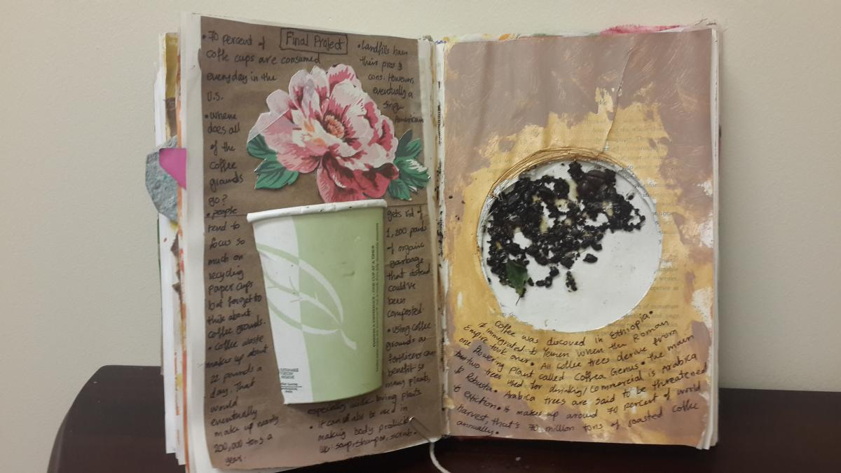 floral collage made from a journal