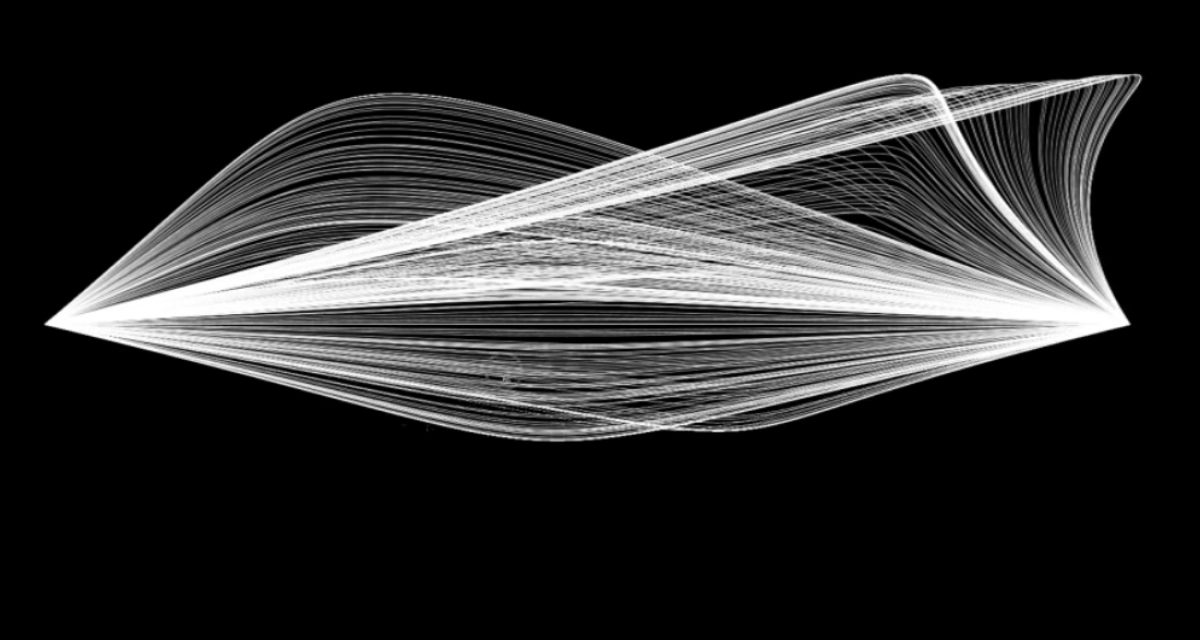 digital drawing of white lines intersecting on black background