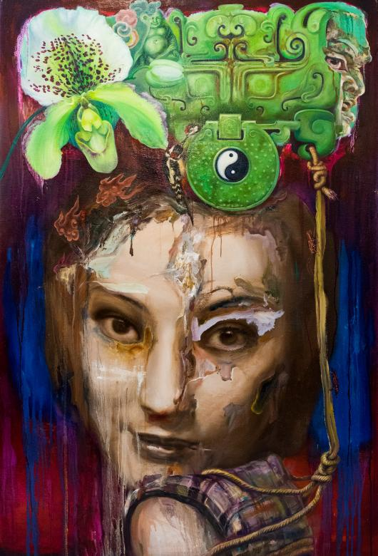 painting of a Chinese model's portrait collaged with green flower and iconography