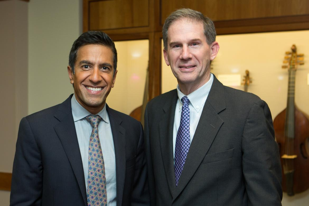 Sanjay Gupta with President Joe Moore