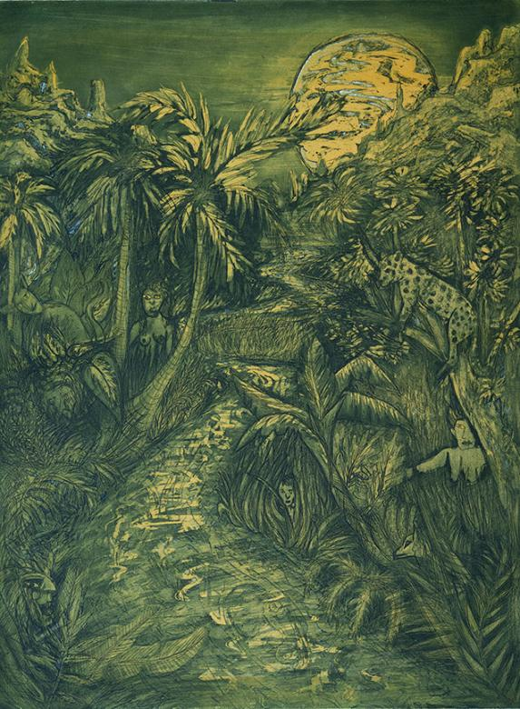 print of rainforest at night with a green and yellow tint. people and animals hidden in the palm trees.