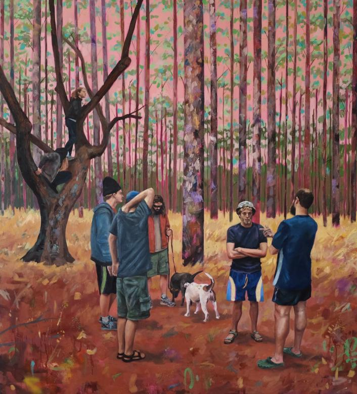 painting of people standing in circle in the woods on a fall day