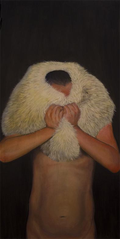 oil painting of man with fur coat wrapped around head and face