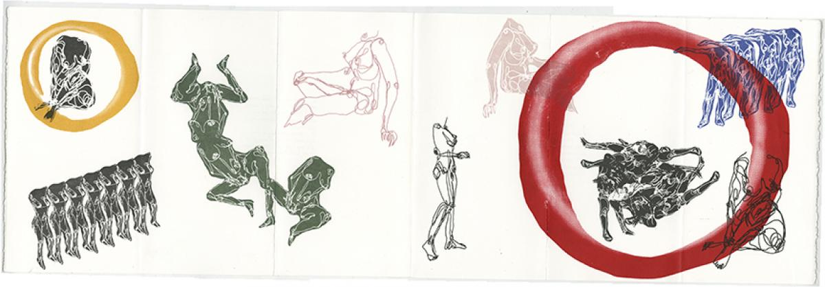 line drawings of nude female forms in multiple colors