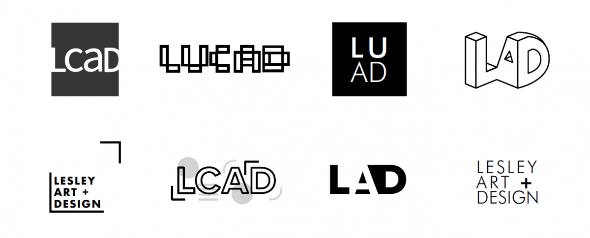 black and white watermarks of various logo ideas