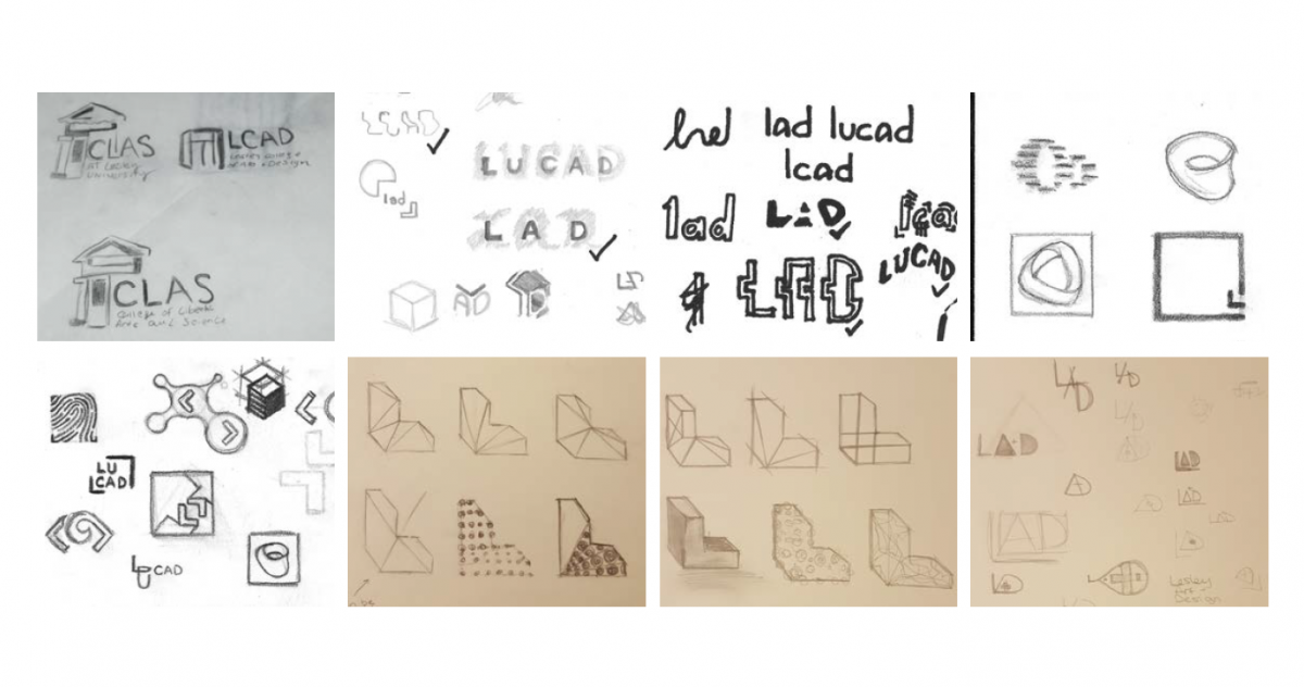 student pencil sketches of new logo options for the college of art and design