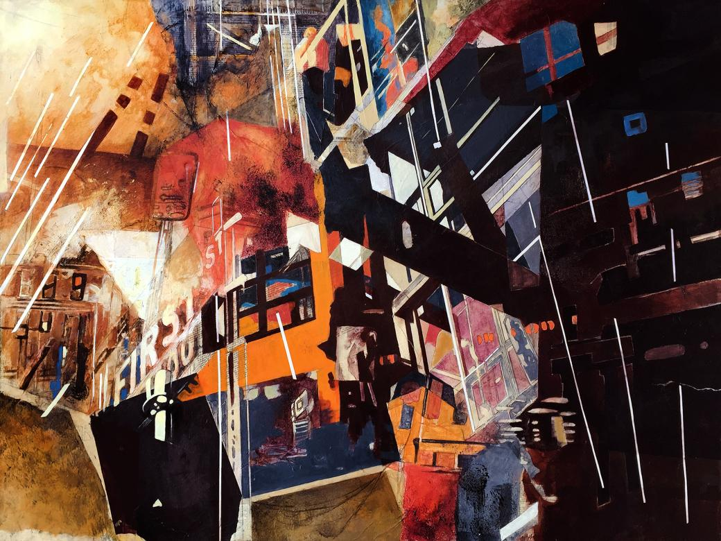 painting of mixed media resembling upsidedown city scape with red and orange line elements