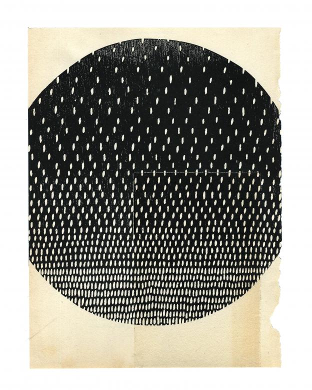 artwork for the book Men Without Women. Dark gray circle with a collage of lightly colored ovals on antique brown book page
