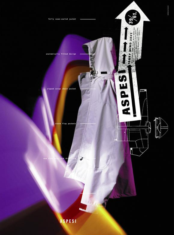 black poster with white rain jacket folded in center. Purple and yellow light overlays image and white text.