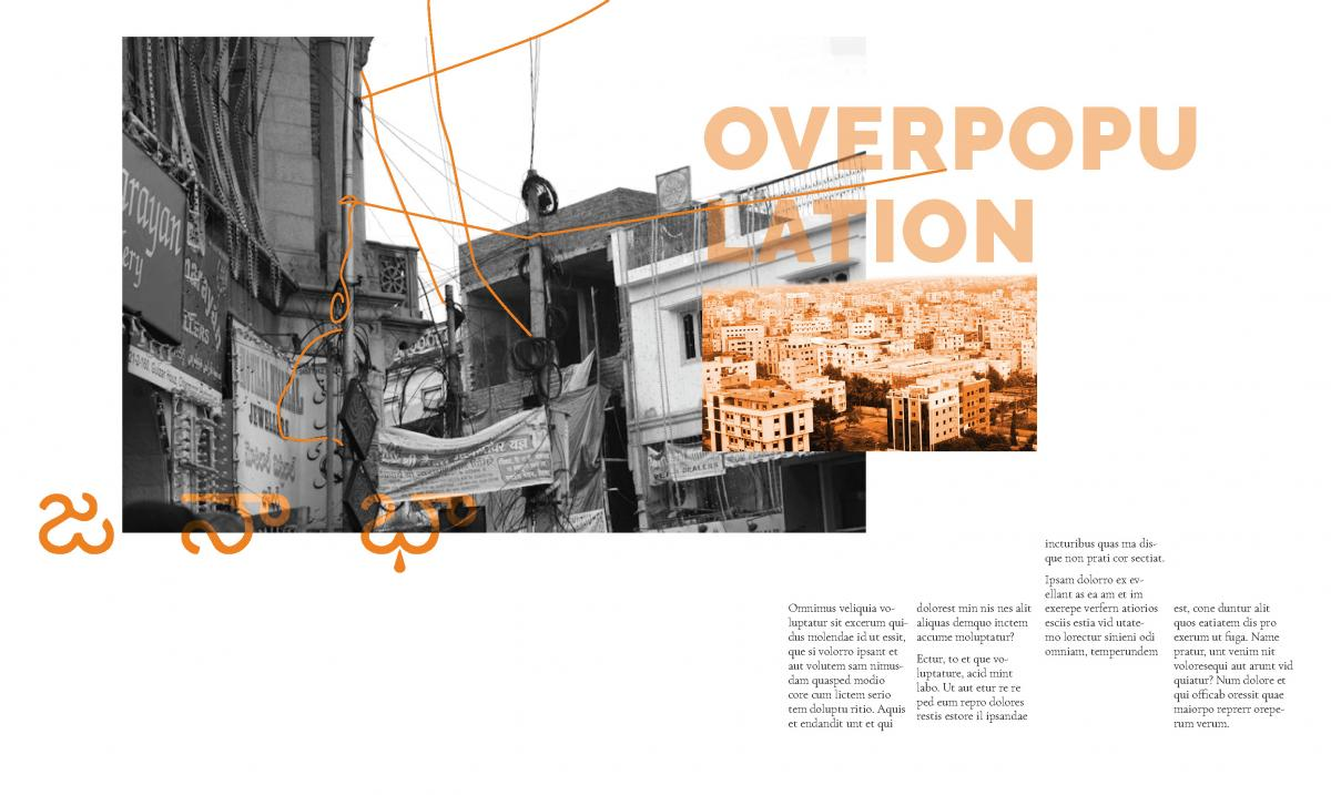 magazine spread with gray image and orange header text