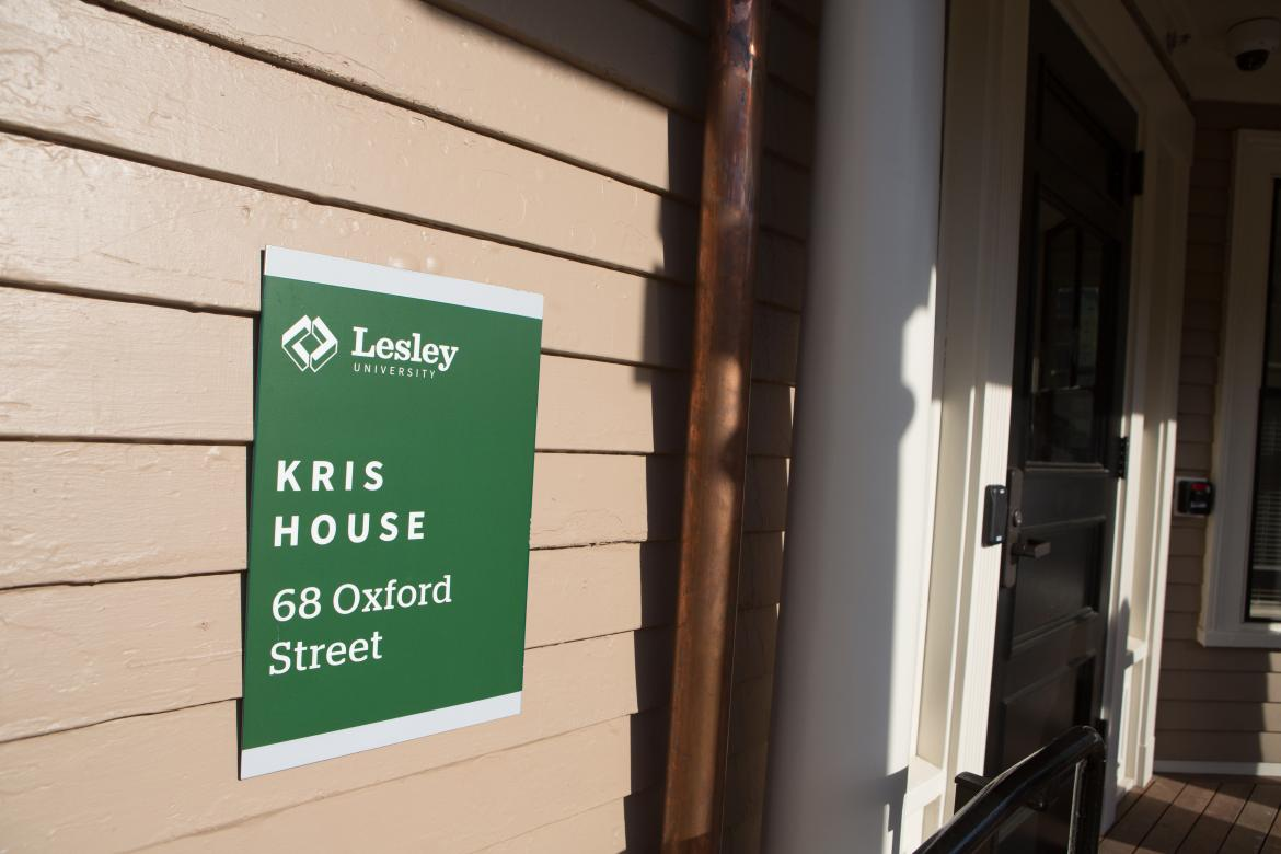 "Up close shot of the ""kris house"" sign"
